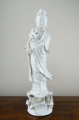 Chinese Blanc De Chine Porcelain Figure of Guanyin Female Immortal Statue 41cm