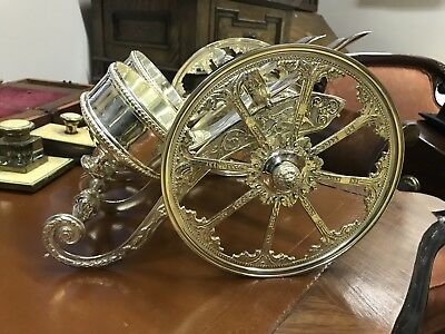 Silver Plate 2 Bottle Wine Carriage.