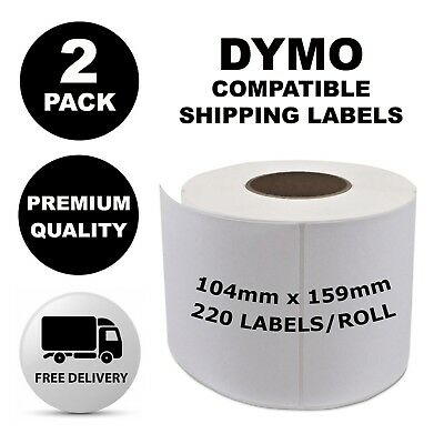 2 Pack Dymo Compatible 4XL S0904980 Shipping Labels 104x159mm [Regular Post]