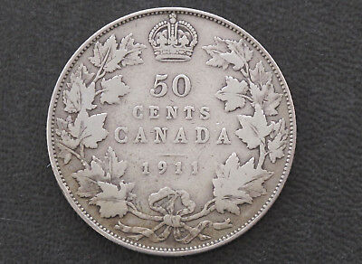 1911 Canada Fifty Cents .925 Silver Coin D8627