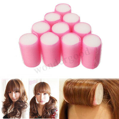 10Pcs Pink Soft Foam Curlers Hair Rollers Curling Accessories For Women Sleeping