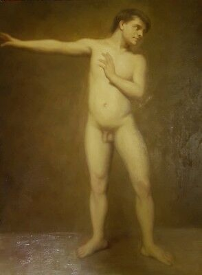 Antique Superb Early 19Th Century Male Nude Oil Painting.