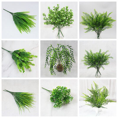 2018  Green Leaves Artificial Grass Fake Leaf Greenery Foliage Plastic-Plant/