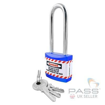 Lockout Tagout Jacket Padlock with Long Shackle - Key Different (Blue)