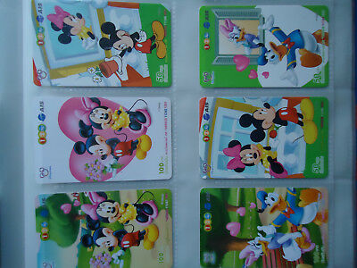 THAILAND USED CARDS SET 6 DISNEY Mickey Mouse RARE