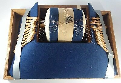 Vtg Lacemaking Blue Pillow Box Bolster with 22 Wood Bobbins and Lace in Process