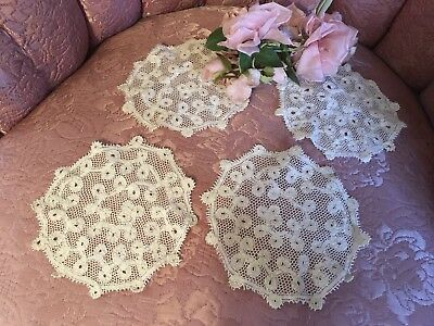 4 Antique French Tambour Lace Doilies Cotton Netting #A4z