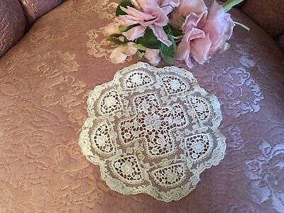 Antique French Tambour Lace Doily Cotton Netting Floral Needlework #A5z