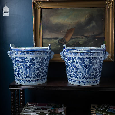Large Pair of 19th C French Blue and White Tin Glaze Ceramic Pots with Cherub