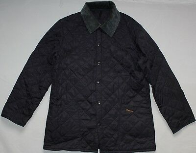 Barbour Liddesdale Quilted Button Jacket - Large Size L - Navy Blue - Mens Coat