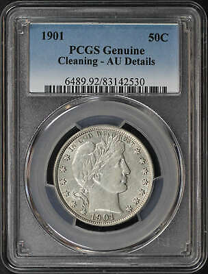 1901 Silver Barber Half Dollar Liberty Head PCGS AU Details Cleaning -158441