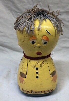 """7"""" Kitchi Vintage Chalkware Coin Bank - I am happy today Handmade Art  Signed"""