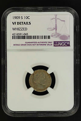 1909-S Barber Liberty Head Silver Dime NGC VF Details Whizzed -148580