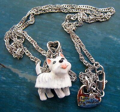 THE BRADFORD EXCHANGE Westie Dog Necklace PLAYFUL PUP Diamond Pendant