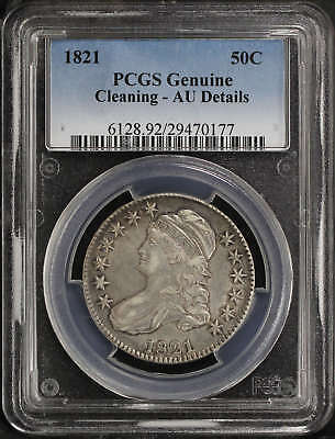 1821 Capped Bust Silver Half Dollar PCGS Genuine AU Details Cleaning
