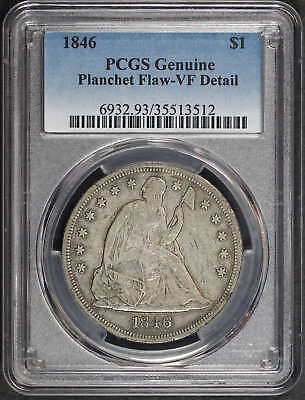 1846 Seated Liberty Silver Dollar PCGS VF Details Planchet Flaw -173197