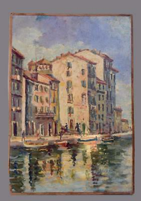 Vintage French Oil Painting on Wood Panel of a South of France Village Seaside