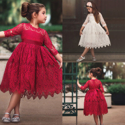Toddler Kids Baby Girl Lace Flower Princess Tutu Party Pageant Dresses Clothes