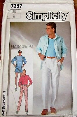 Vtg 80s Simplicity Pattern 7357 Men's H. Grethel Top Shirt Shorts Pants Sz 36 FF