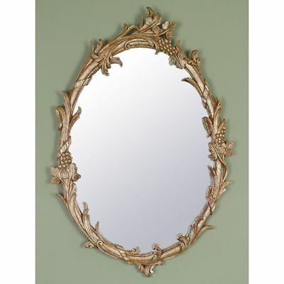 Vintage Hand Carved Italian Rococo style Antiqued Painted Gilt Wood Mirror