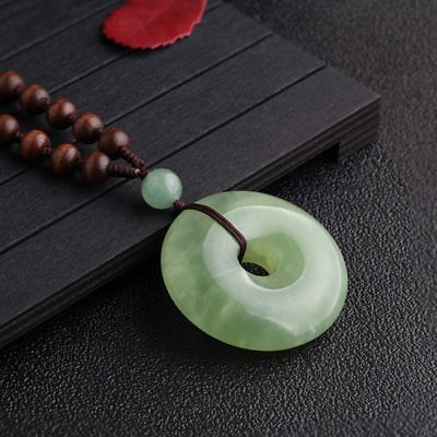 Real Jade Mineral Green Crystal Stone Round Healing Meditation Pendant Necklace