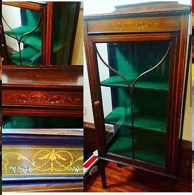Antique Edwardian Mahogany Marquetry Inlaid Display Cabinet Glazed Door / sides