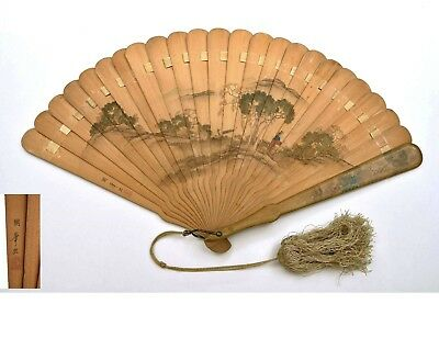 Early 20C Japanese Hand Painted Painting Wood Fan Tassel Flower Landscape Sg 國峰畫