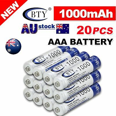 20X BTY AAA Rechargeable Battery Recharge Batteries 1.2V 1000mAh Ni-MH AU Ship