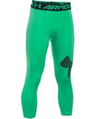 UNDER ARMOUR Girls Green & Black 3/4 Heatgear Logo Leggings 13-14 Years BNWT