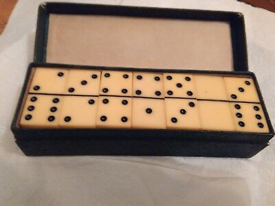 Vintage Bakelite Catalin Domino Dominos Set Game Pieces in Original Box RARE
