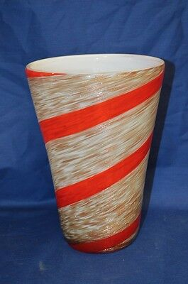 Vintage Gold, White, and Red Murano Art Glass Vase