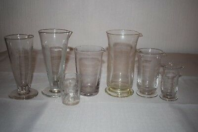 Collection Of 7 Vintage Glass Measuring Cylinders