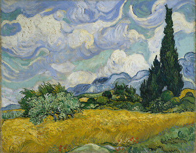 Wheat Field With Cypresses Vincent Van Gogh Painting Canvas Print Wall Art 8x10