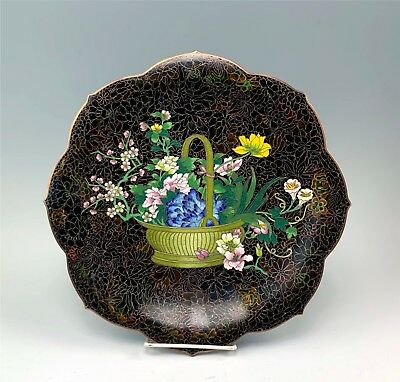 "Beautiful 12"" Diameter Chinese Cloisonne Charger Platter Basket of Flowers"