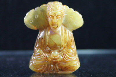 Exquisite Chinese Decor Handmade Old Jade Carved Kindly Buddha Lovely Pendant