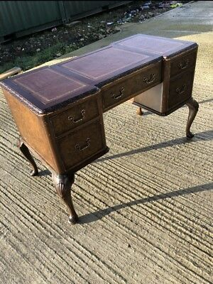 Vintage Gold Feather Queen Anne Leather Top Desk Walnut Finish 4ft