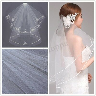 2T 1.5M White Bridal Wedding Cathedral Veil Elbow Length Lace Edge With Comb