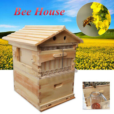 7PCS Cedarwood Wooden Beekeeping Auto Honey Hive Beehive House Super Brood Box