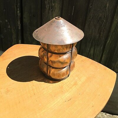 Vintage Amber Bubble Glass & Metal Porch Lantern / Light
