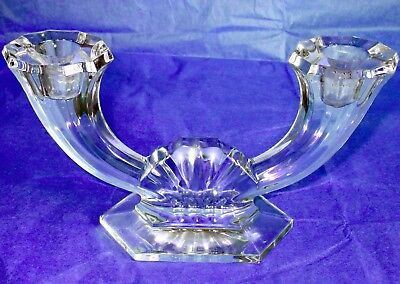 Val St. Lambert Belgian Art Deco Crystal Candle Holder Signed
