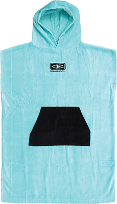 Ocean & Earth Youth Hooded Poncho Ice Blue/blk