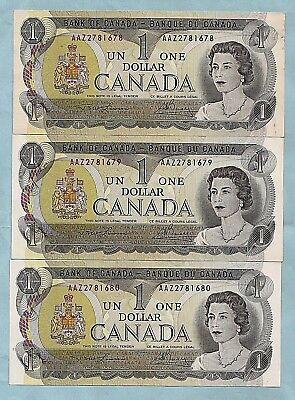 THREE 1973 CANADA consecutive 1 ONE DOLLAR BILLS NOTES prefix  AAZ CRISP UNC