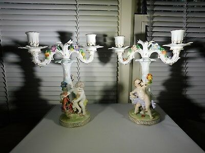 Dresden Germany Candle Holder Candlestick Pair Porcelain Cherub w Florals