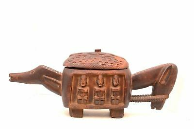 Vintage Dogon Mali Horse Figure Wood carved Box Patina African tribal art statue