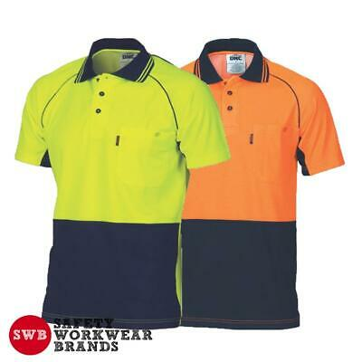 DNC Workwear Mens Hi Vis Cotton Back Cool Contrast Piping Polo Shirt Work 3719