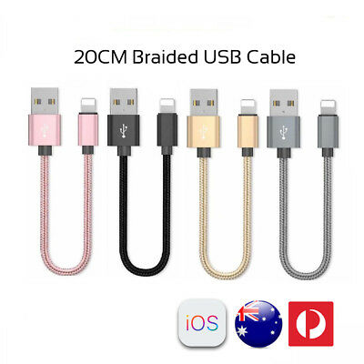 20CM Short Braided Lightning USB Cable Fast Charging Cord iPhone XS 8 7 6 Plus 5