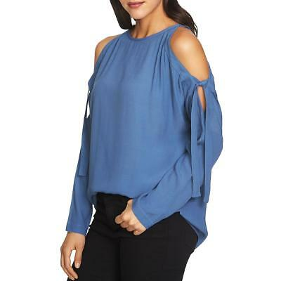 3337a3211c274 1.State Womens Blue Crepe Cold Shoulder Day To Night Blouse Top S BHFO 0238