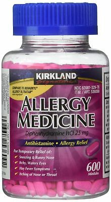 Kirkland Allergy Medicine 600 Tablets 25 mg Diphenhydramine FREE SHIPPING