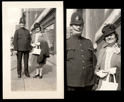 GIANT POLICE UNIFORM COP MAN & FAWNING OLD WOMAN! 1930s VINTAGE PHOTO!