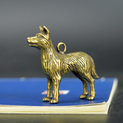 Chinese old collection handwork bronze Zodiac dog Inviting money Pendant statue